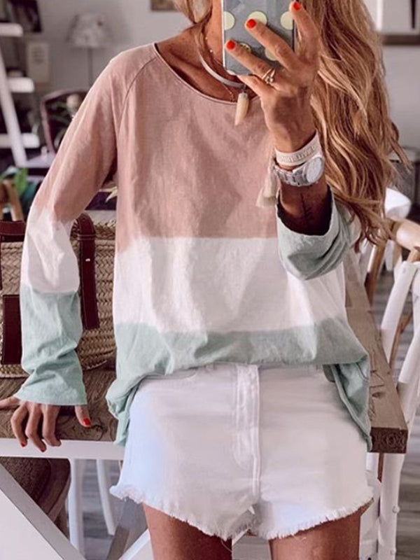 Women Cotton-Blend Round Neck Long Sleeve Tops