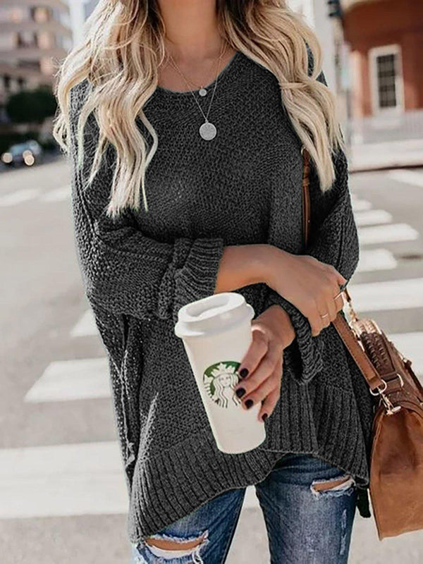 Plus Size Long Sleeve Knitted Sweater-outerwear-fastchics-Black-S-fastchics