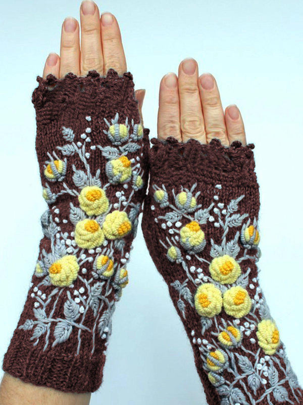 Deep Gray Casual Cotton-Blend Floral Gloves & Mittens-Accessories-fastchics-Burgundy-One-size-fastchics
