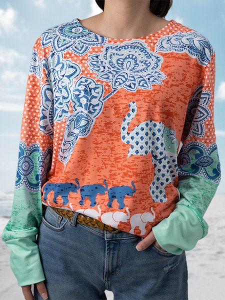 Women Multicolor Long Sleeve Round Neck Patchwork Tops