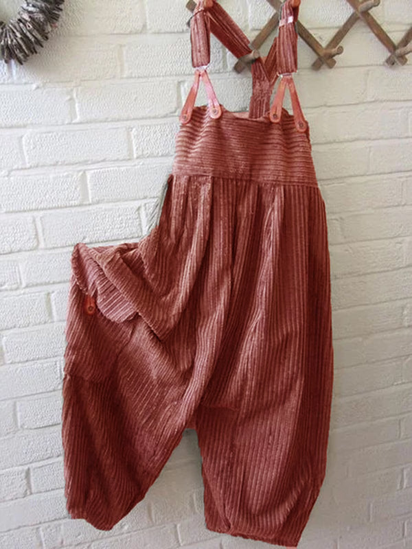 Women Stripes Summer Casual Cotton-Blend Jumpsuits