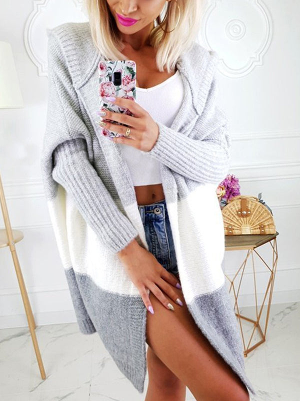 Plus Size Casual Hoodie Long Sleeve Knitted Cardigan