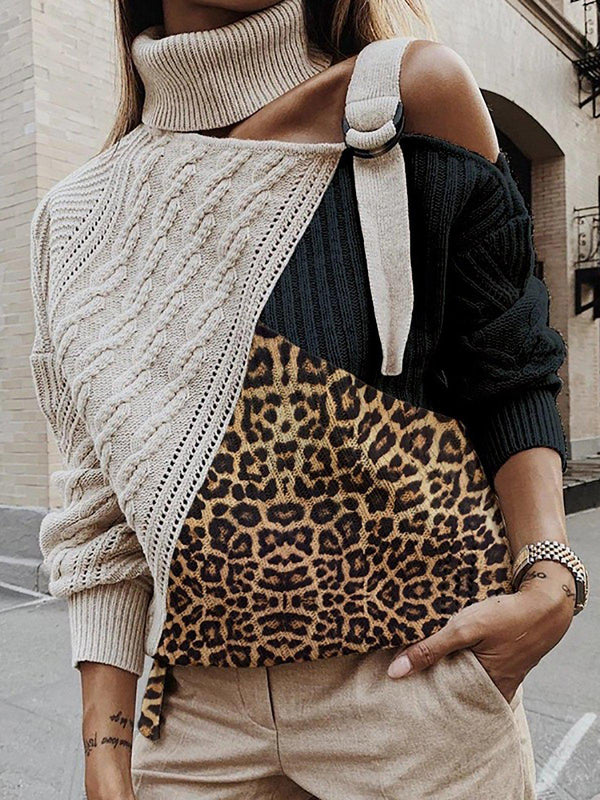 Leopard Paneled Off Shoulder Sweater Plus Size Pullovers Jumpers-outerwear-fastchics-Black-S-fastchics