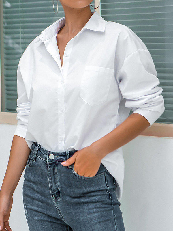 Button Down Solid Office Blouses Plus Size Shirts-outerwear-fastchics-White-S-fastchics