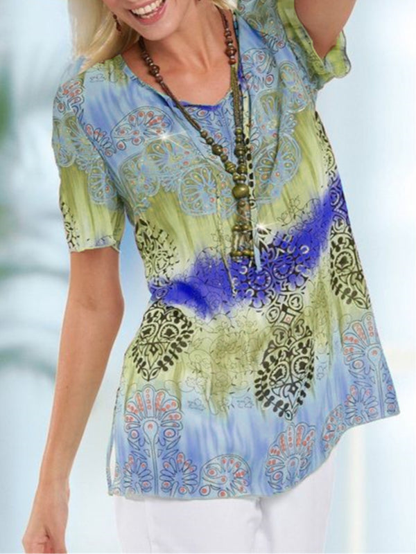 Women Boho Holiday Printed Crew Neck Short Sleeve Shirts