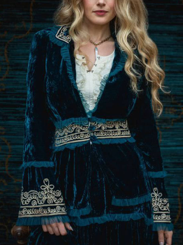 Boho Clothing Long Sleeve Velvet Blue Printed Casual Outerwear
