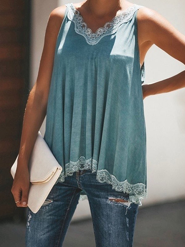 Women V Neck Paneled Spaghetti Solid Sexy Camis