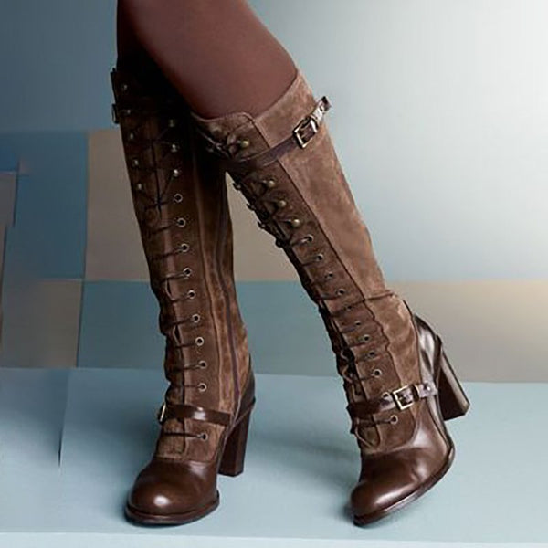 Women's Vintage Lolita Style Boots-Shoes-fastchics-Brown-35-fastchics