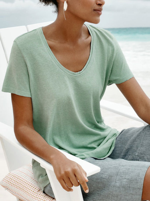 Women Round Neck Short Sleeve Solid Casual Shirts