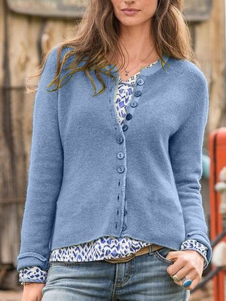Plus Size Long Sleeve Knitted Casual Outerwear-outerwear-fastchics-Blue-S-fastchics