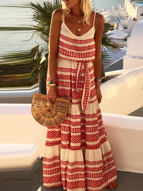 Sleeveless Stripe Maxi Holiday Dresses-Dresses-fastchics-Red-S-fastchics
