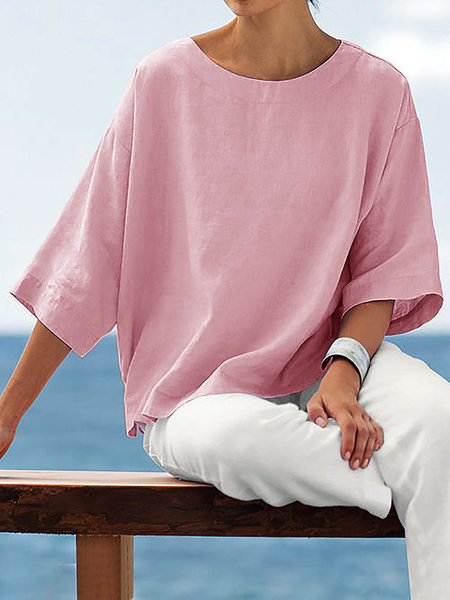 Women Crew Neck 3/4 Sleeve Solid Shirts