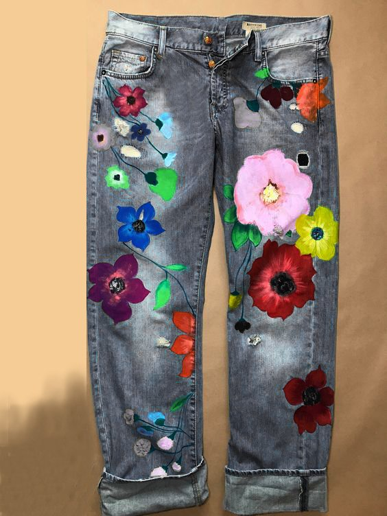 Plus Size Denim Floral Casual Pants-Bottoms-fastchics-Gray-US 4 (label size S)-fastchics