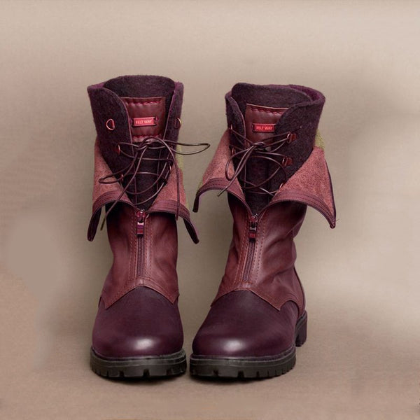 Boots With Lace Up-Shoes-fastchics-Wine Red-35-fastchics