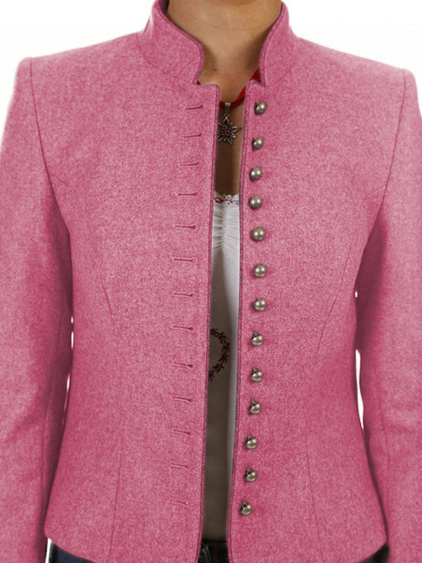 Solid Buttoned Jacket Plus Size Coat-outerwear-fastchics-Pink-S-fastchics