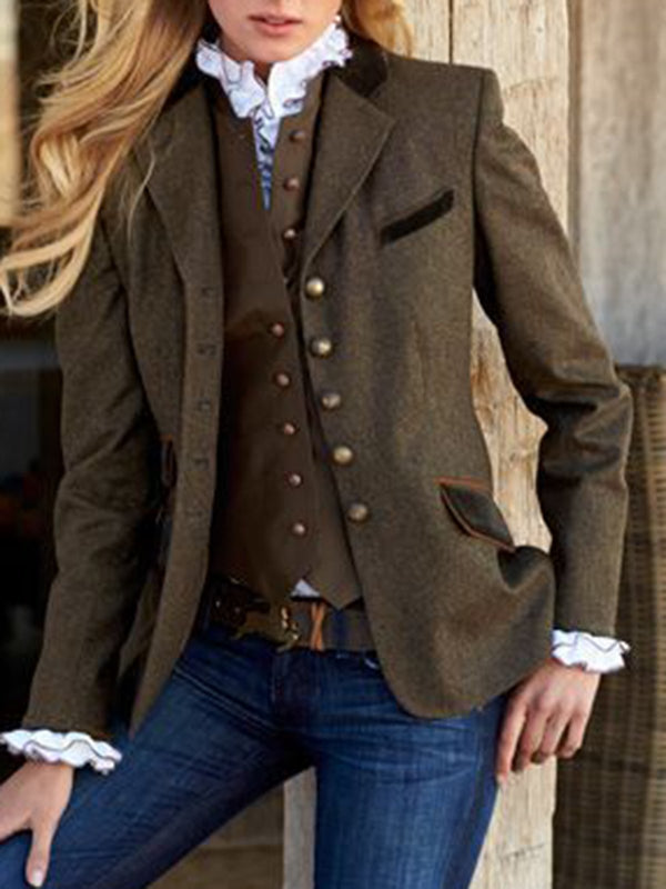 Long Sleeve Solid Vintage Blazer Lapel Long Coat-outerwear-fastchics-Brown-S-fastchics