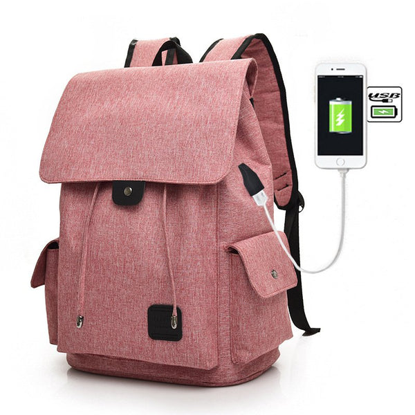 Women Canvas Backpack Casual USB Interface Charging Shoulder Bags For Teenager-Accessories-fastchics-Pink-Large-fastchics