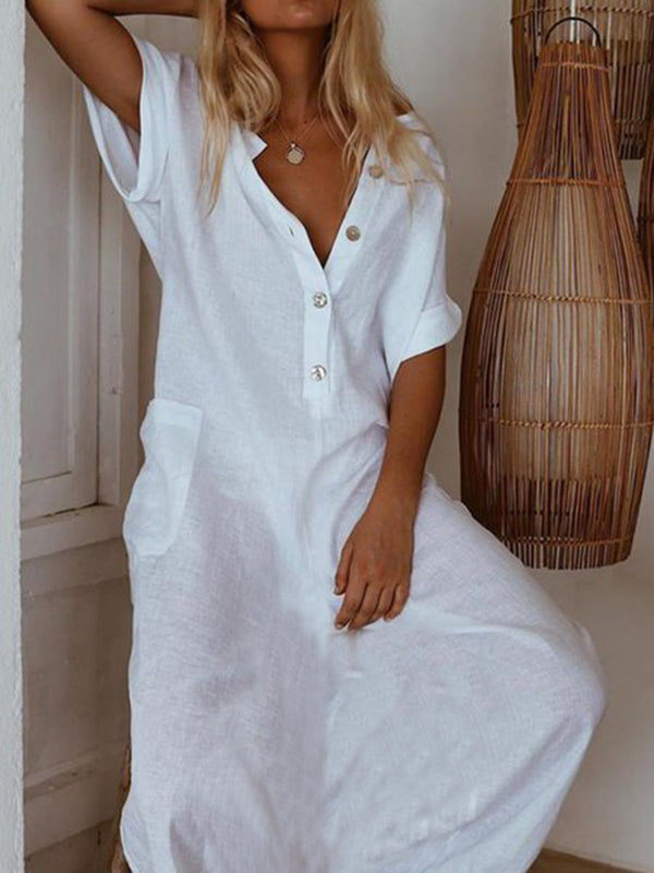 Short Sleeve Casual Dresses-Dresses-fastchics-White-S-fastchics