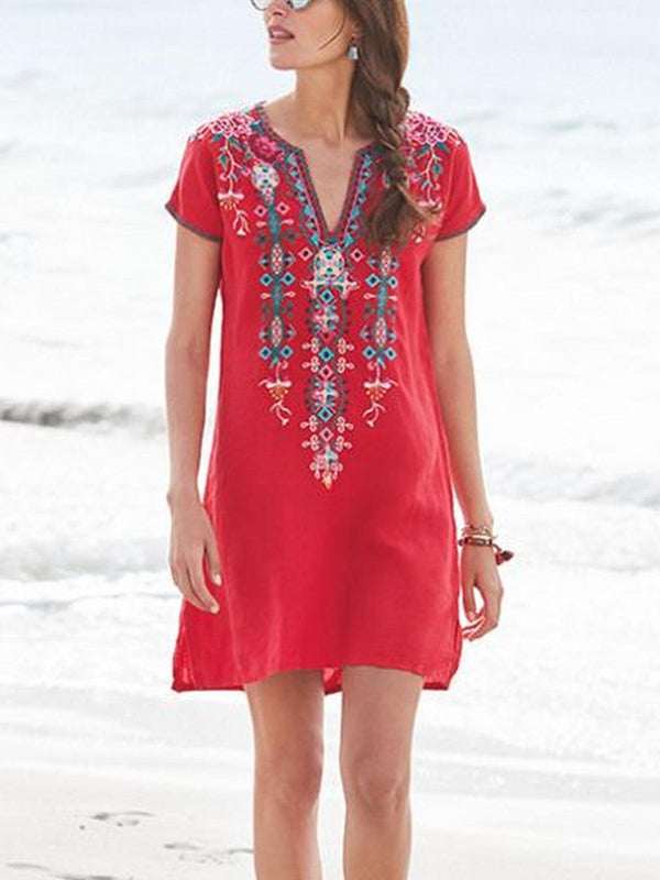 Casual Floral Short Sleeve Cotton Dresses-Dresses-fastchics-Red-S-fastchics