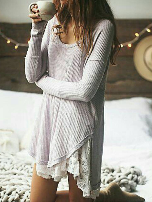 Women Long Sleeve Paneled Crew Neck Sweater