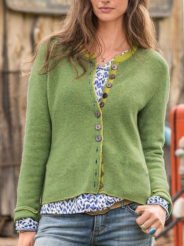 Plus Size Long Sleeve Knitted Casual Outerwear-outerwear-fastchics-Green-S-fastchics