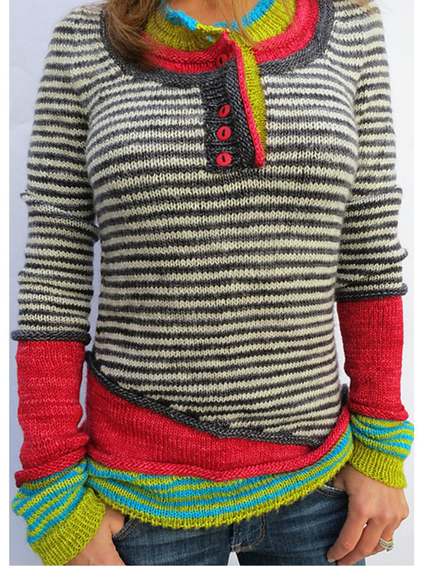 Red Wool Blend Long Sleeve Striped Paneled Sweater-outerwear-fastchics-Red-S-fastchics