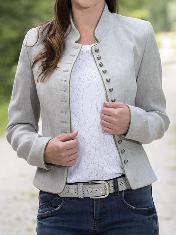 Light Gray Cotton-Blend Casual Outerwear-outerwear-fastchics-Light Gray-S-fastchics