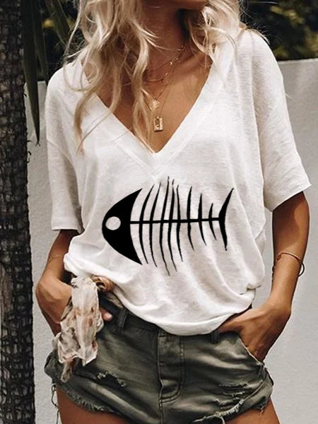 Plus Size Fish Printed Casual V Neck Shirts