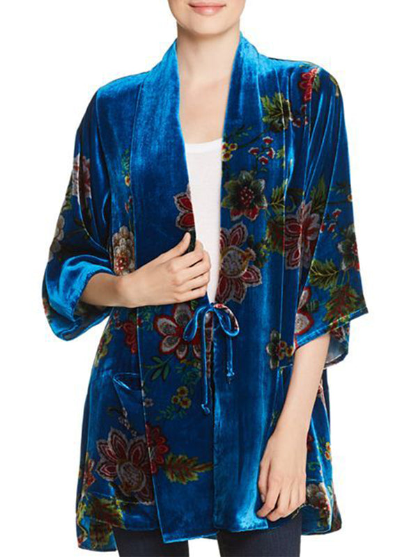 Blue 3/4 Sleeve V Neck Casual Outerwear