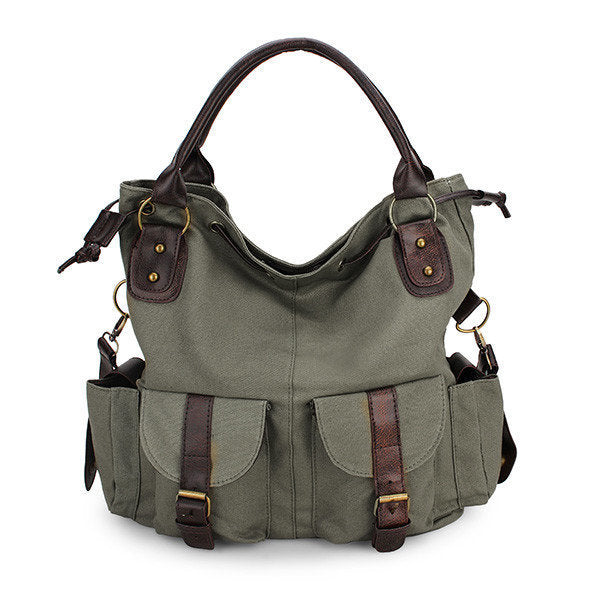 Women Multi-pocket Canvas Handbags Leisure Shopping Crossboody Bag-Accessories-fastchics-Army Green-Large-fastchics