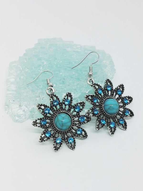Vintage Turquoise Sun Flower Earrings Necklace