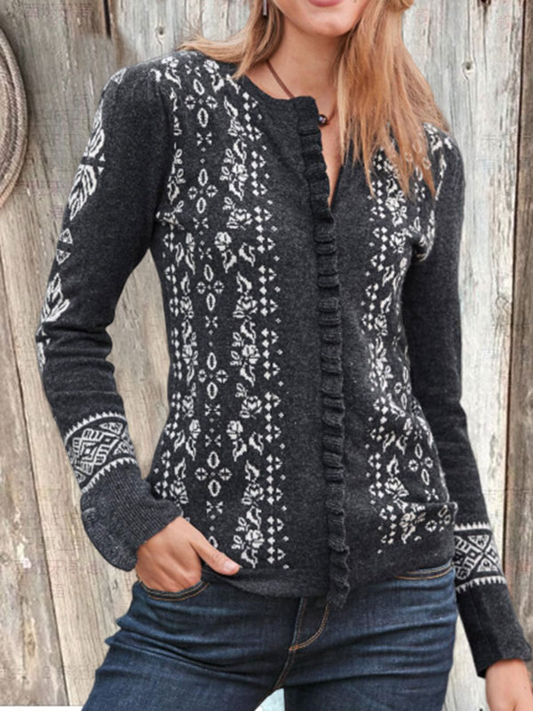 Plus Size Boho Long Sleeve Cotton-Blend Casual Outerwear