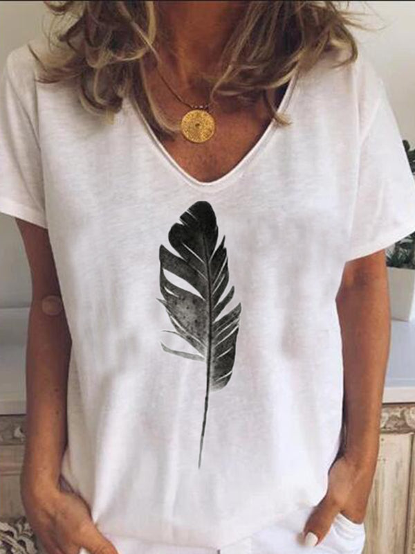 Women V Neck Printed Casual Cotton-Blend Tops
