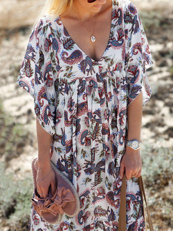 As Picture V Neck Short Sleeve Dresses-Dresses-fastchics-As Picture-S-fastchics