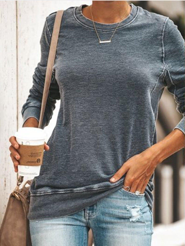 Plus Size Round Neck Long Sleeve Casual Cotton-Blend Tops-Tops-fastchics-Gray-S-fastchics