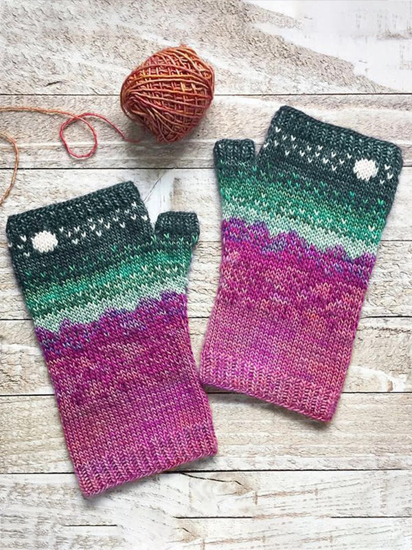 Cotton-Blend Striped Casual Gloves & Mittens
