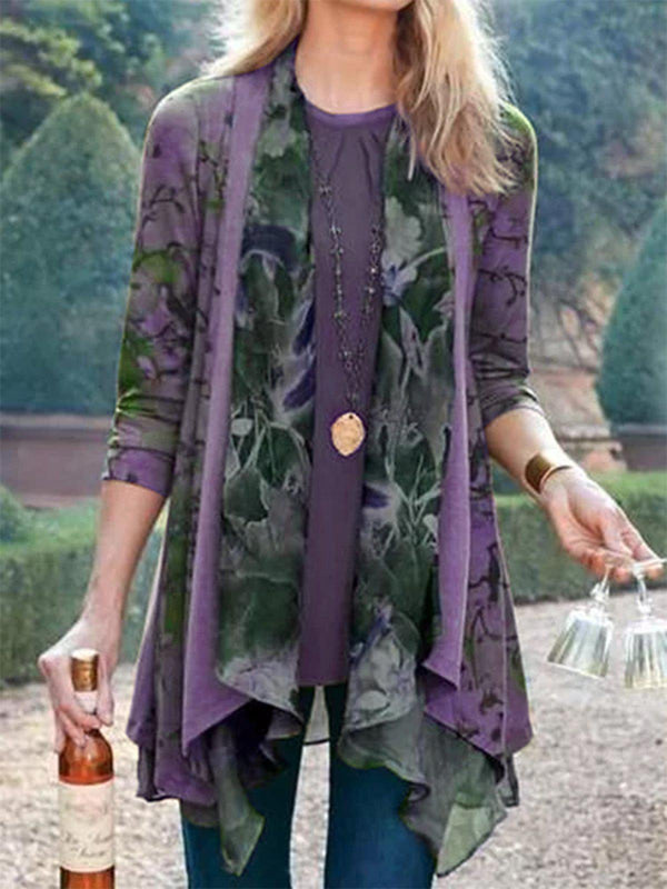 Floral Long Sleeve Outerwear-outerwear-fastchics-Purple-S-fastchics