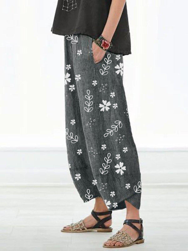 Casual Floral Printed Pockets Women All Season Pants-Bottoms-fastchics-Deep Gray-S-fastchics