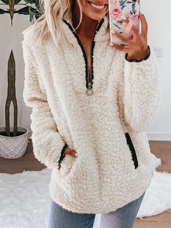 Plus Size Casual Long Sleeve Patchwork Zipper Outerwear