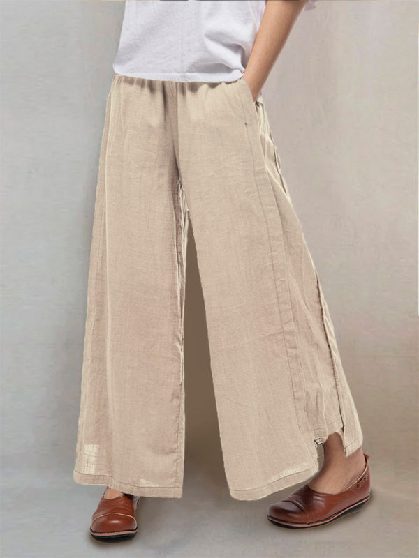 Plus Size Casual Pockets Solid Loose Pants