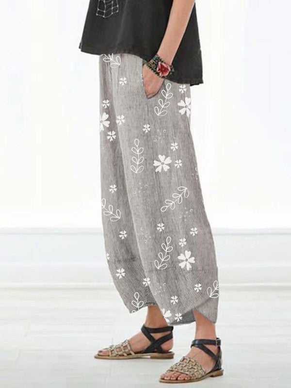 Casual Floral Printed Pockets Women All Season Pants-Bottoms-fastchics-Gray-S-fastchics