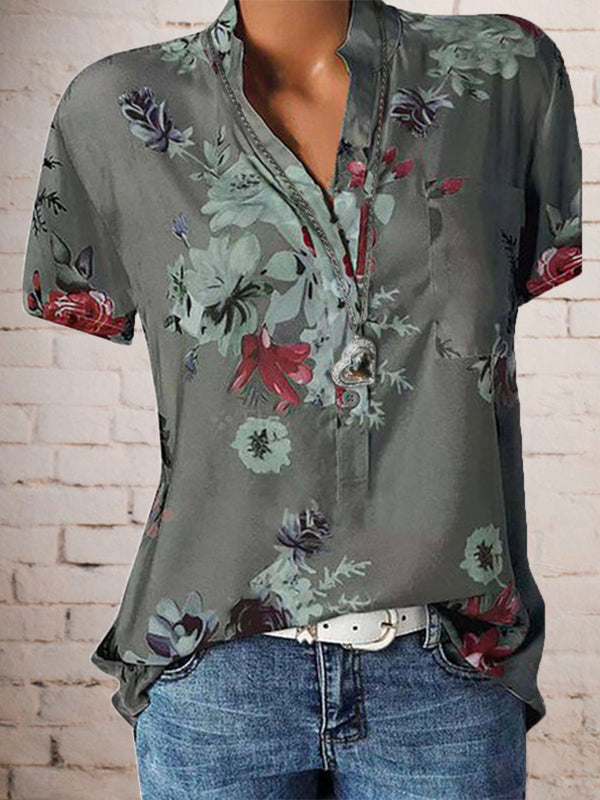 Women Floral Plus Size Short Sleeve Casual Summer Blouses