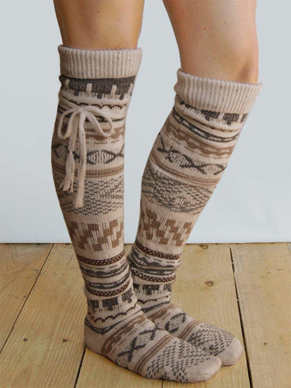 Knitted Boho Geometric Underwear & Socks-Accessories-fastchics-Khaki-One-size-fastchics