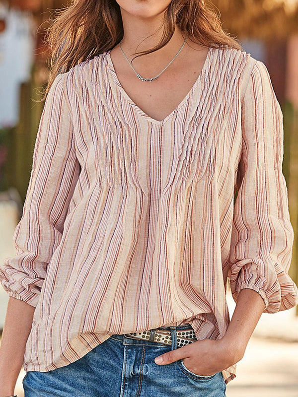 Women Long Sleeve V Neck Shirts Striped Blouses