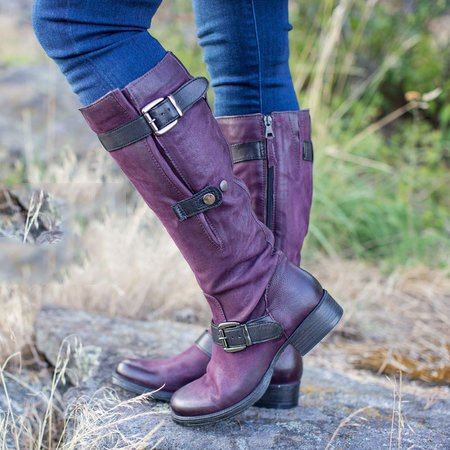All Season Daily Flat Heel Boots-Shoes-fastchics-Purple-35-fastchics