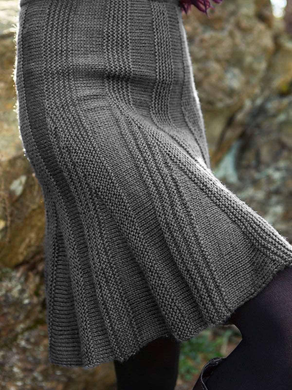 Knitted Plain Shift Simple & Basic Skirts-Dresses-fastchics-Gray-S-fastchics
