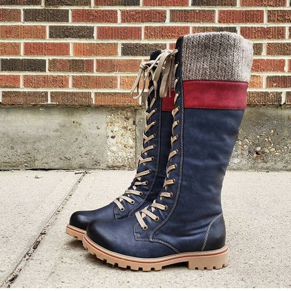 Women's casual lace-up boots-Shoes-fastchics-Blue-35-fastchics