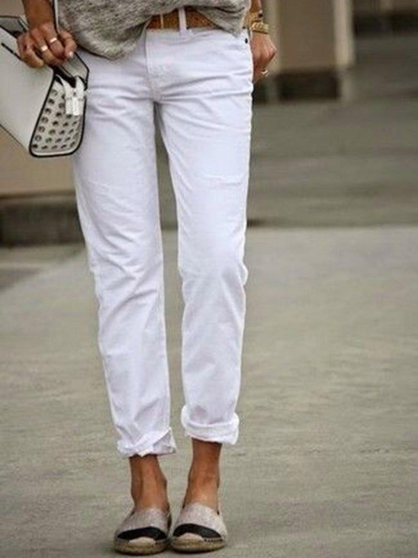 White Casual Solid Pants-Bottoms-fastchics-White-S-fastchics