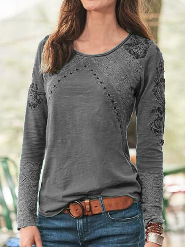 Women Sweet Long Sleeve Tops-Tops-fastchics-Gray-S-fastchics