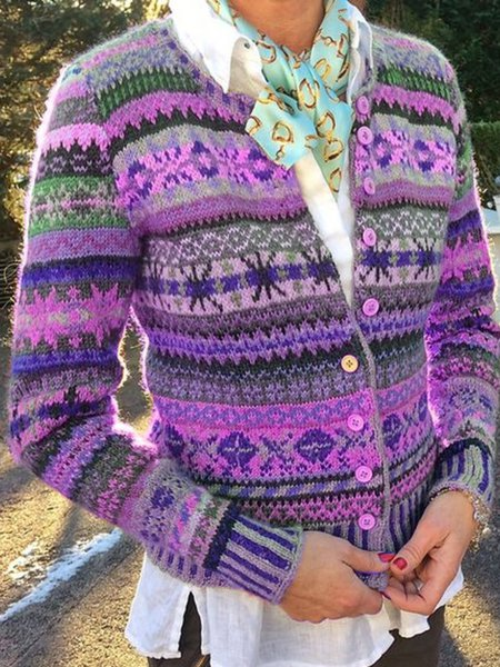 Printed Long Sleeve Casual Outerwear-outerwear-fastchics-Purple-S-fastchics